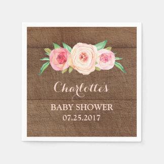 Blush Pink Watercolor Floral Wood Baby Shower Disposable Serviette