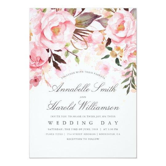Blush Pink Watercolor Flower Wedding Card