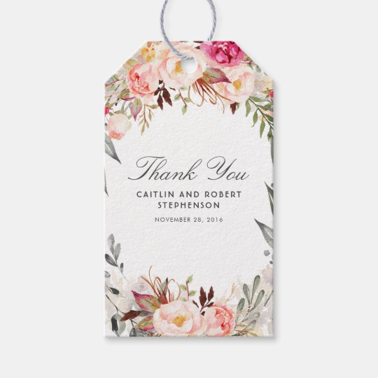 Blush Pink Watercolor Flowers Elegant Gift Tags