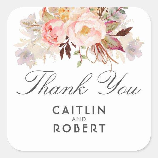 Blush Pink Watercolor Flowers Elegant Thank You Square Sticker