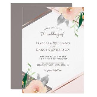 Blush Pink Watercolor Flowers Wedding Invitation