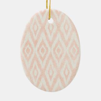 Blush Pink Watercolor Ikat Geometric Painted Print Ceramic Oval Decoration