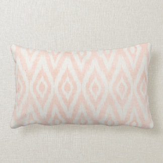 Blush Pink Watercolor Ikat Geometric Painted Print Lumbar Cushion