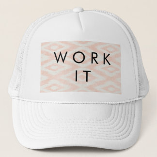Blush Pink Watercolor Ikat Geometric Painted Print Trucker Hat