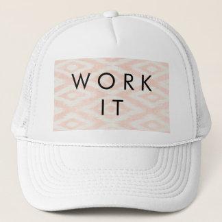 Blush Pink Watercolor Ikat Geometric Painted Print Trucker Hat