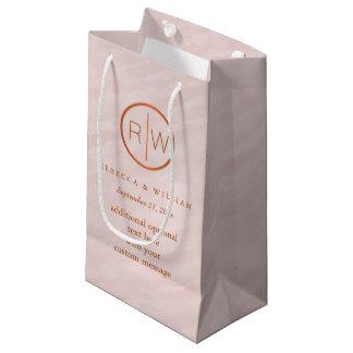 Blush Pink Watercolor Monogram Wedding Party Small Gift Bag