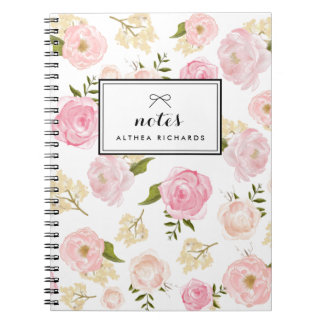 Blush Pink Watercolor Peonies Pattern Personalized Spiral Notebook