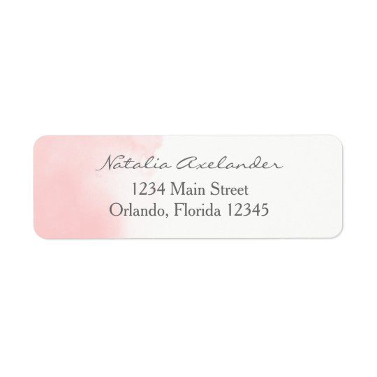 Blush Pink Watercolor Return Address Label
