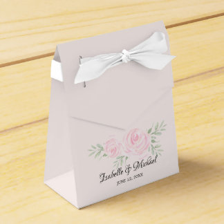 Blush Pink Watercolor Roses Wedding Favor Boxes