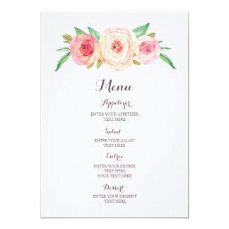 Blush Pink Watercolor Wedding Menu Card