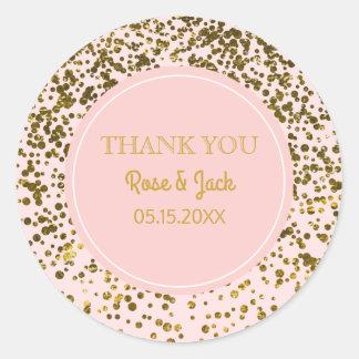 Blush Pink Wedding Faux Gold Glitter Confetti Dots Classic Round Sticker