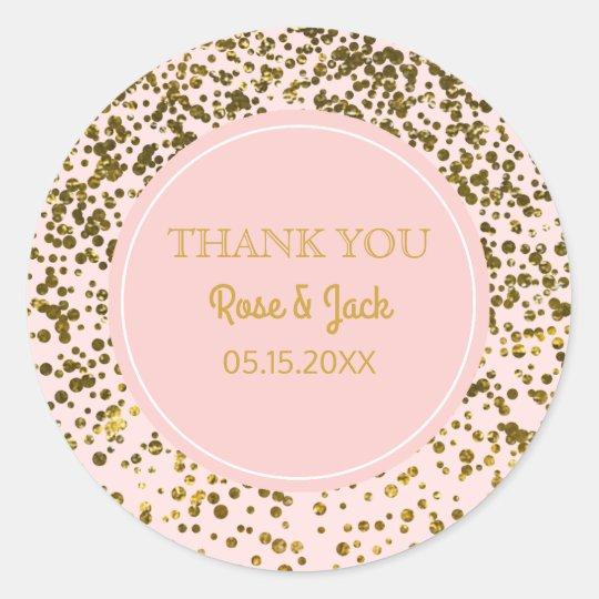 Blush Pink Wedding Faux Gold Glitter Confetti Dots