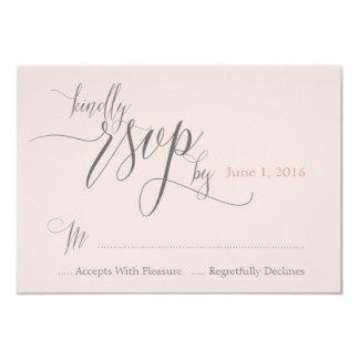Blush Pink Wedding RSVP card for Getaway Car Suite