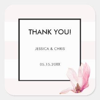 Blush Pink White 3 Stripes Magnolia Thank You Square Sticker