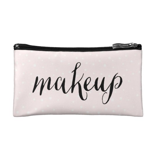 Blush Pink & White Confetti Dots Cosmetic Bag
