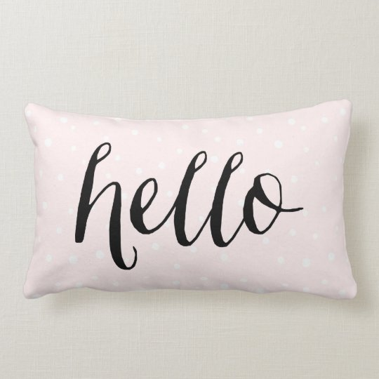 Blush Pink & White Confetti Dots Hello Pillow