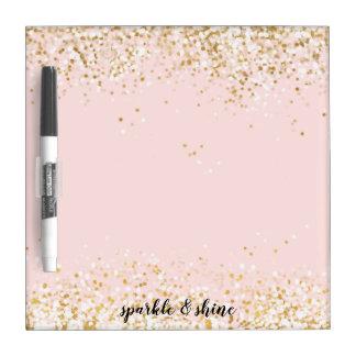 Blush Pink White Gold Confetti Sparkle Dry Erase Board