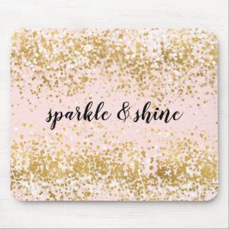 Blush Pink White Gold Confetti Sparkle Mouse Mat