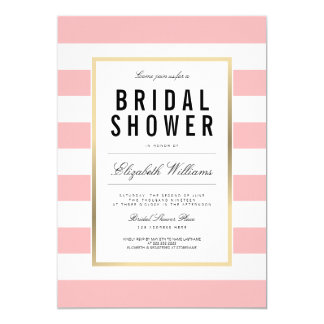 Blush Pink White Striped Gold Bridal Shower Invite