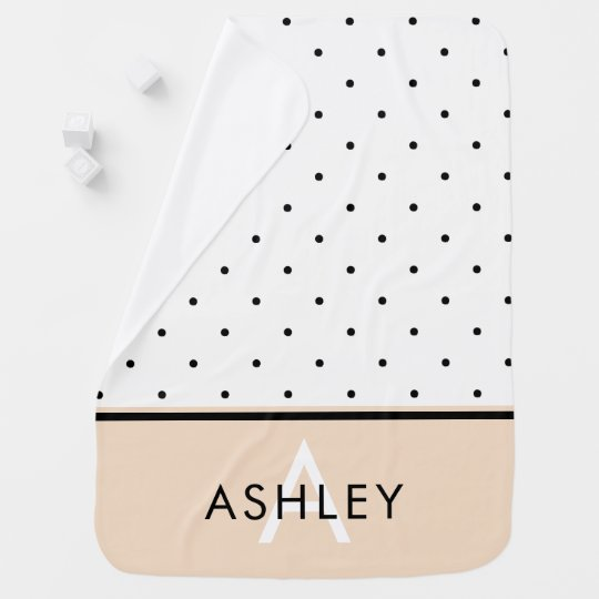 Blush Pink with Black and White Polka Dots
