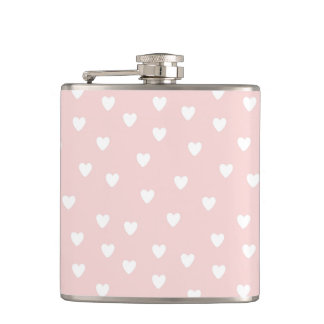 Blush Pink with White Hearts Hip Flask