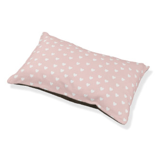 Blush Pink with White Hearts Pet Bed