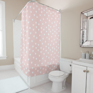 Blush Pink with White Hearts Shower Curtain