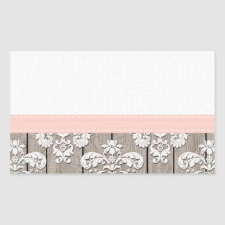 Blush Pink Wood Lace Rustic Rectangular Sticker