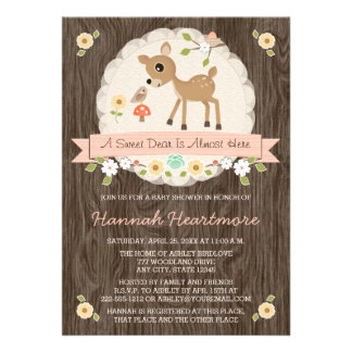 BLUSH PINK WOODLAND DEER BABY SHOWER ANNOUNCEMENTS