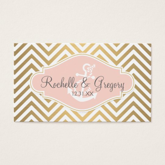 Blush Preppy Chevron Stripe Modern Nautical Anchor Business