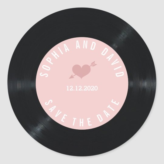 Blush Retro Vinyl Record Wedding SAVE THE DATE