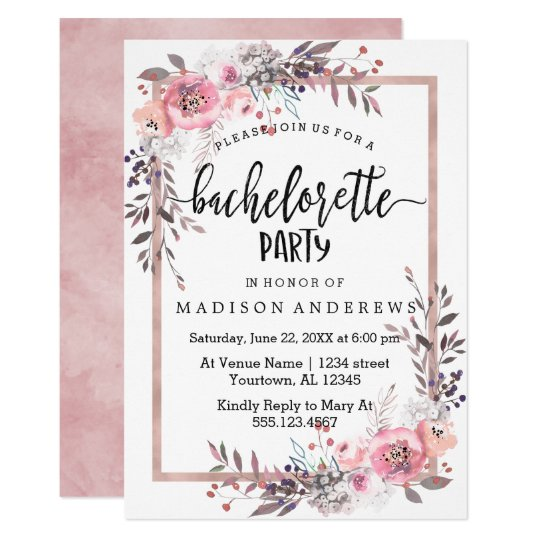 Blush & Rose Gold Bachelorette Party Invitation