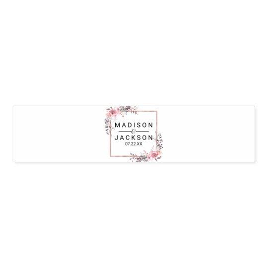 Blush & Rose Gold Framed Floral Wedding Monogram