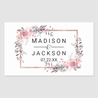 Blush & Rose Gold Framed Floral Wedding Monogram Rectangular Sticker
