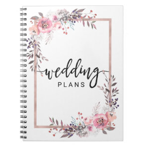 Blush & Rose Gold Framed Floral Wedding Planner Notebook