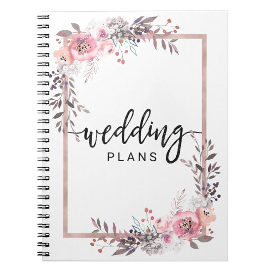 Blush & Rose Gold Framed Floral Wedding Planner