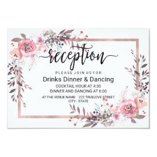 Blush & Rose Gold Framed Floral Wedding Reception Card