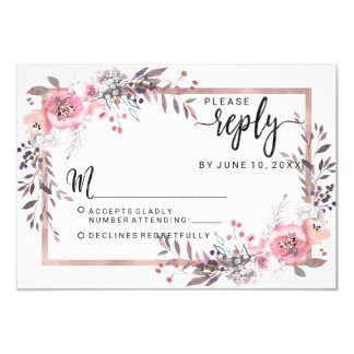 Blush & Rose Gold Framed Floral Wedding Reply RSVP Card