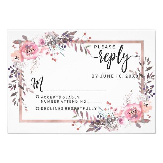 Blush & Rose Gold Framed Floral Wedding Reply