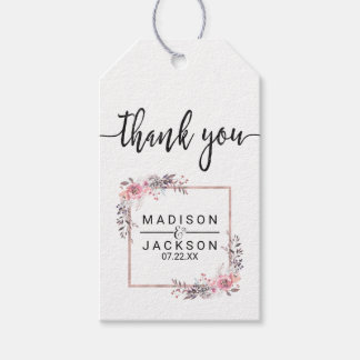 Blush & Rose Gold Framed Floral Wedding Thank You Gift Tags
