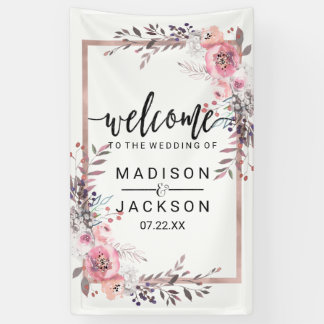 Blush & Rose Gold Framed Floral Wedding Welcome Banner