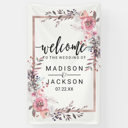 Blush & Rose Gold Framed Floral Wedding Welcome