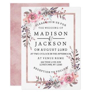 Blush & Rose Gold Framed Wedding Invitations
