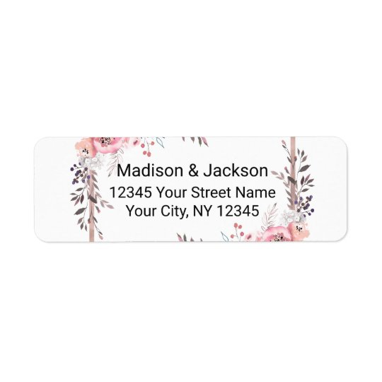 Blush & Rose Gold Framed Wedding Return Address