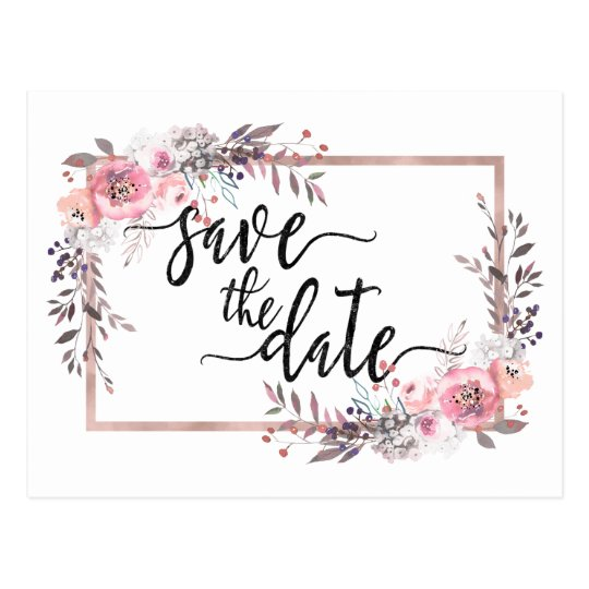 Blush & Rose Gold Framed Wedding Save the