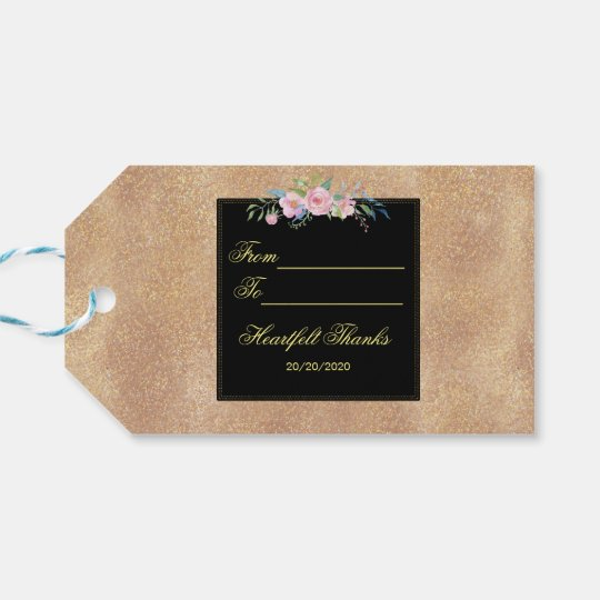 Blush Rose Gold Glitter Floral Wedding Gift Tags