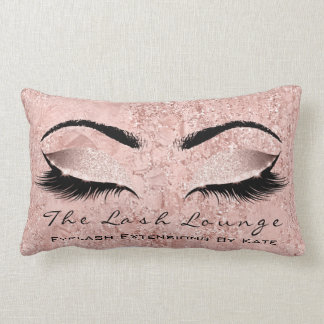 Blush Rose Gold Glitter Spa Makeup Lashes Beauty Lumbar Cushion