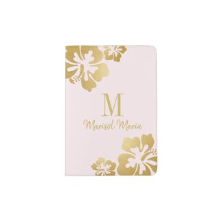 Blush Rose & Gold Hibiscus Girly Tropical Flower Passport Holder