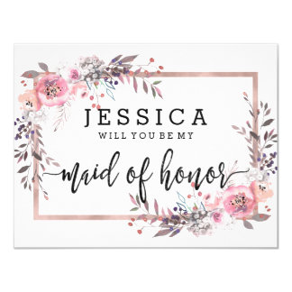 Blush & Rose Gold Will You Be My Maid of Honor Card