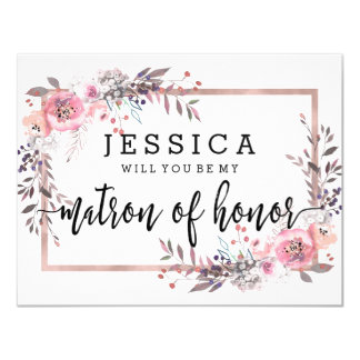 Blush & Rose Gold Will You Be My Matron of Honor Card